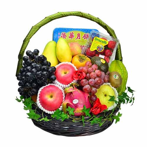 Seasonal Fruits Hamper with Wing Wah Double York White Lotus Mooncake