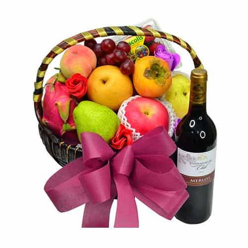 Festival Fruits Hamper with Red Wine