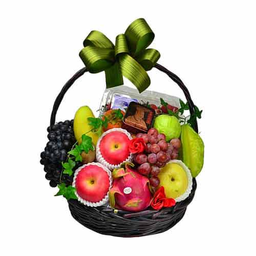 Festive Treat Fresh Fruit Hamper with Wine N Cake