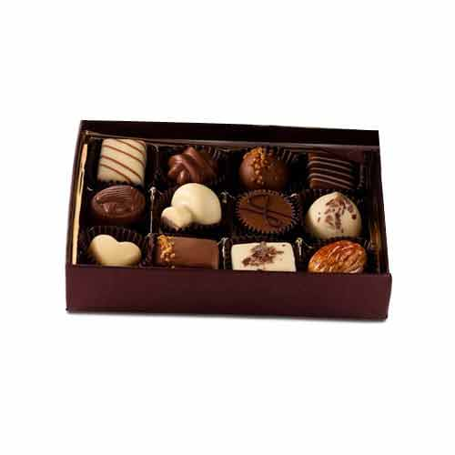 Royal Satin Box with 12pcs Nut Chocolates