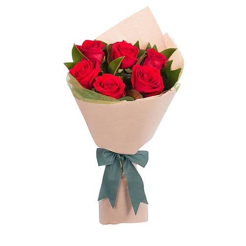 Lovely Bouquet of Six Roses for Valentines Day