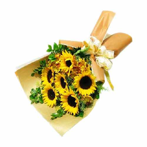 Sunshine Love - 6 Stems Hand-Crafted Sunflower Bouquet