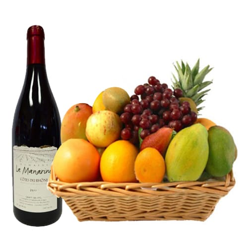 Finely Textured French Red Wine N Assorted Fruit Basket