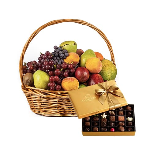 Seasonal Fruits Hamper with Godiva Gift Box Chocolate