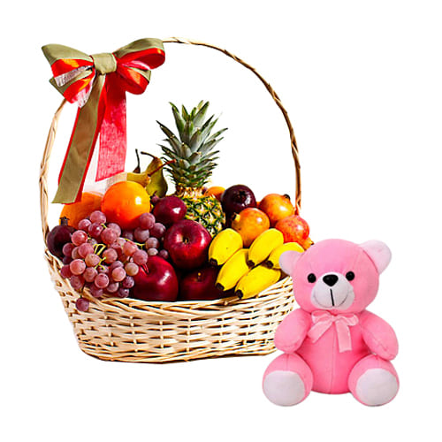 Fanciful Fruits Hamper With Adorable Teddy Bear