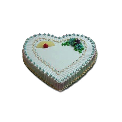 Ravishing White Heart Shaped Cake for Celebration