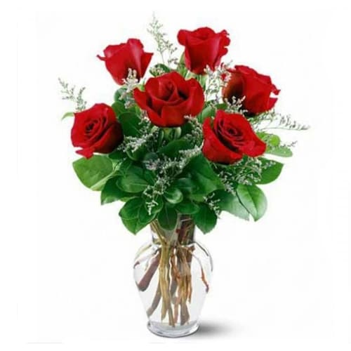 Clustered Wishing You Happiness 6 Pink Roses Bouquet