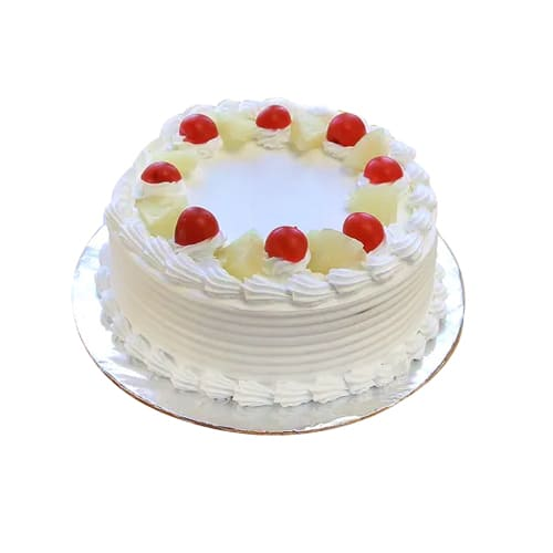 Mouth-Watering Cheerful Wishes Fruit Cake with Fresh Red Cherries
