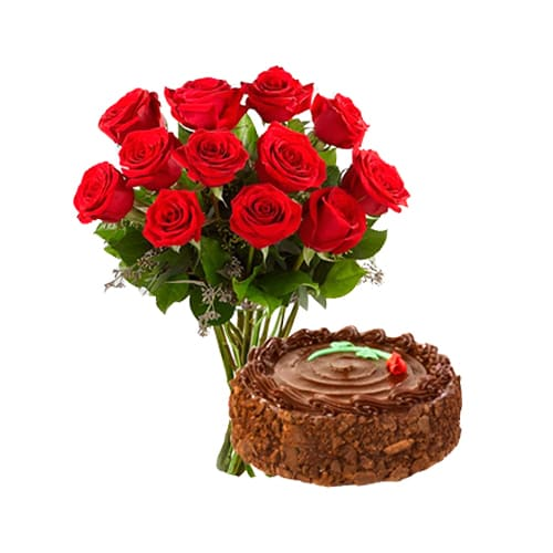 12 Red Rose Bunch With Cake