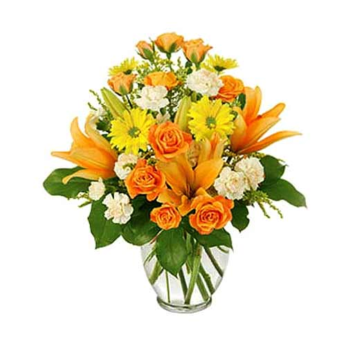 Cheerful Bunch of Mix Floral Creation in Vase