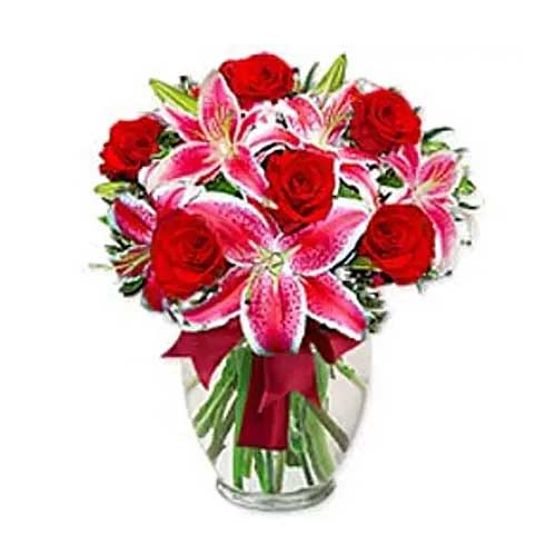 Beautiful Arrangement of Roses and Lilies in Vase