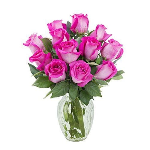 Spectacular Celebrate Love 12 Pink Roses in a Vase