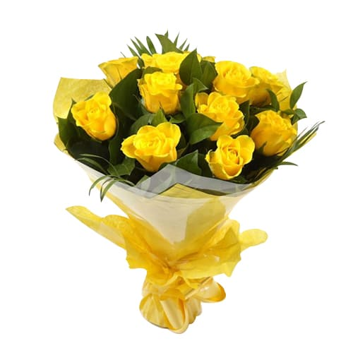 Bouquet Of Dozen Yellow Roses