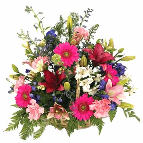 Graceful Mixed Flower Basket with Flourishing Beauty