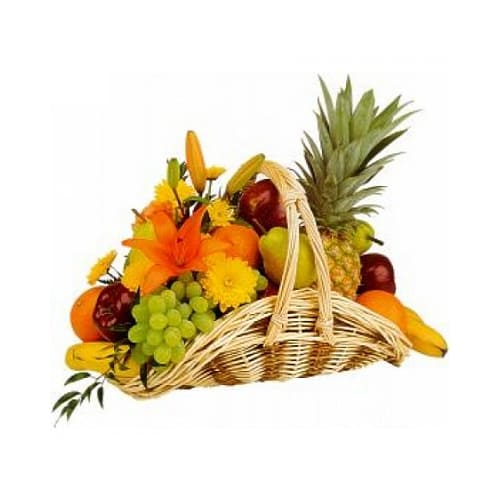 Top-Quality Mixed Flowers and Fruits Basket with Delightfulness