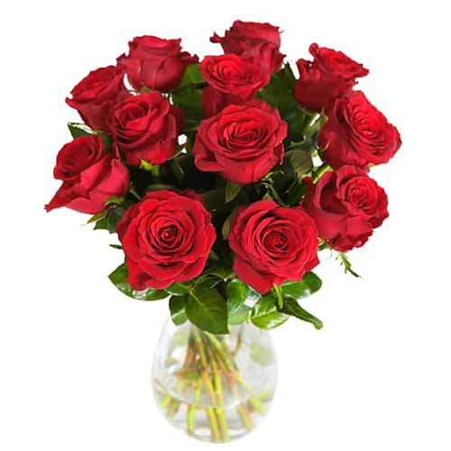 Expressive Crazy in Love 12 Red Roses Bunch in a Vase