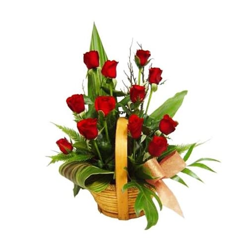Fashionable 12 Red Roses Basket with Impressions of Love