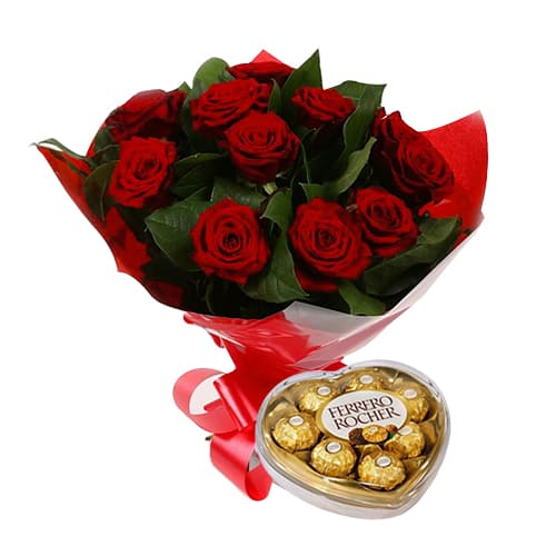 Eye-Catching 12 Red Roses With Ferrero Rocher Chocolates for Celebration
