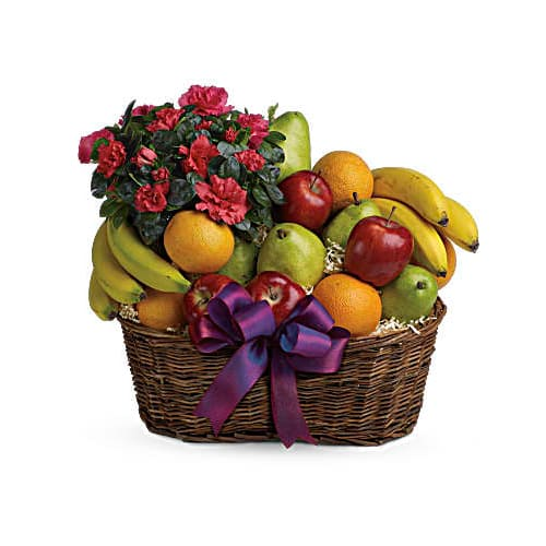 Deluxe Basket of Fruits and Flowers