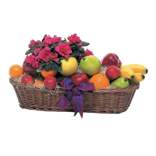 The Seasons Best Combined Gift of Flowers and Fruits