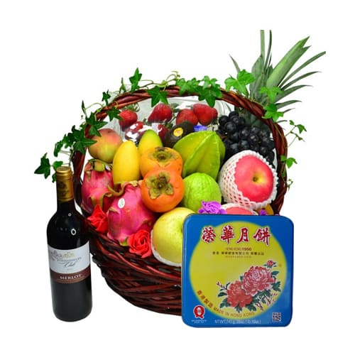 Exotic Tote of Fruits and Gourmet Goodies