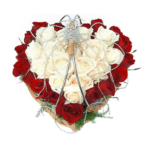 Romantic Heart Shaped Flower Basket with Touch of Sweet Love