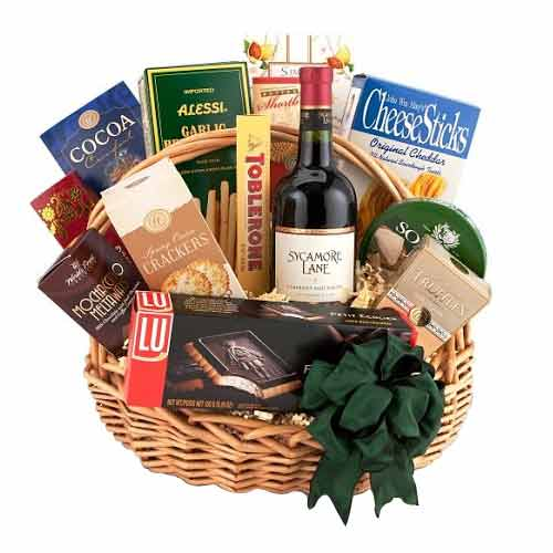 Dynamic Chocolaty Hamper of Wine and Sausage