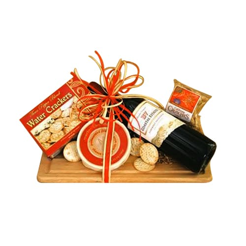 Attractive Gift Basket of French Wine and Crunchy Cookies