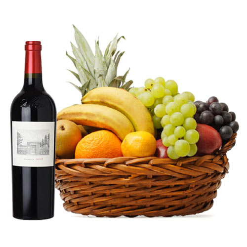 Luxurious Fruit Gift Basket with Red Wine Bottle