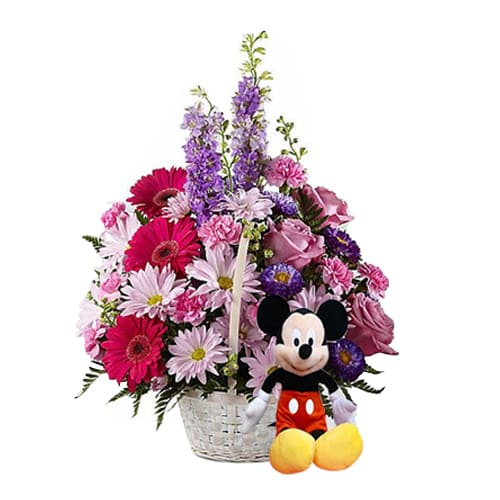 Blossoming Love Around Mixed Flowers Basket with Mickey Mouse