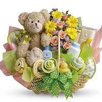 Delightful Special Moments New Baby Hamper with Flowers