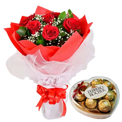 Captivating 6 Red Roses Bouquet with Ferrero Rocher Chocolates