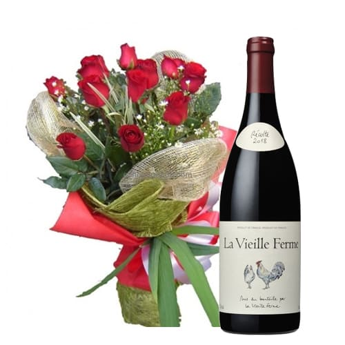 Treasured Love with Care 12 Red Roses with Wine