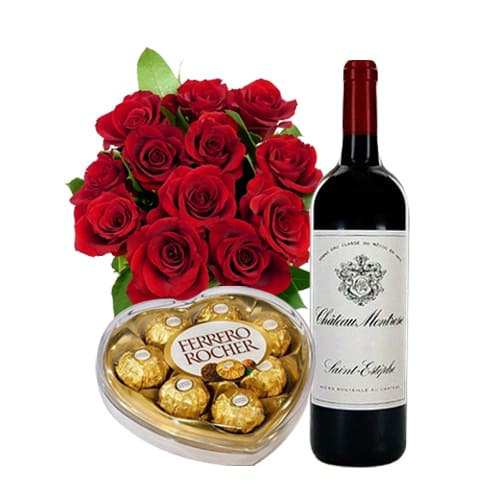 Classic 12 Red Roses, French Wine and Ferrero Rocher Chocolate Box Gift Set for Valentines Day