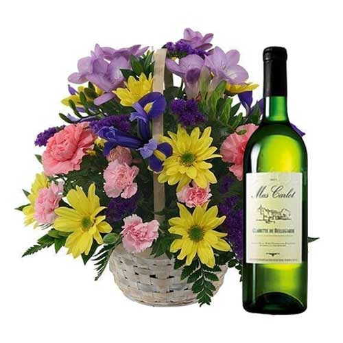 Pretty Mixed Flowers Basket with French Wine