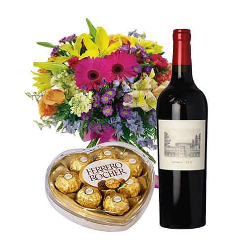 Mixed Bouquet with Chocolates and Wine