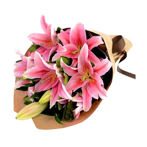 Fresh 6 pcs Lilies Bouquet with Smile