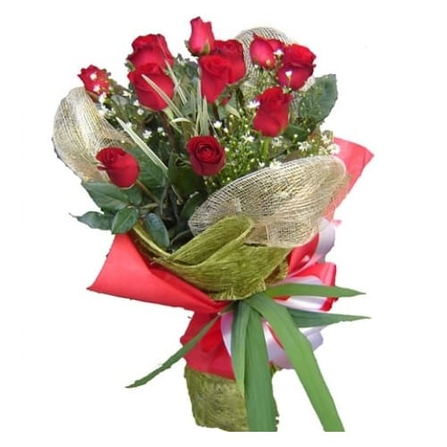 Luxurious Blooming Happiness 12 Holland Roses Bouquet