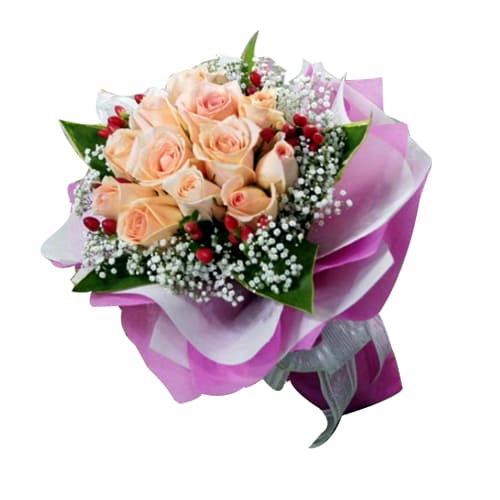 Attention-Getting Explosion of Colors 12 Champagne Roses Bouquet