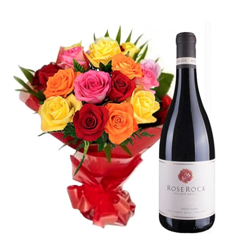 Fragrant Heart of Lovely Wine and 12 Mixed Roses Bouquet
