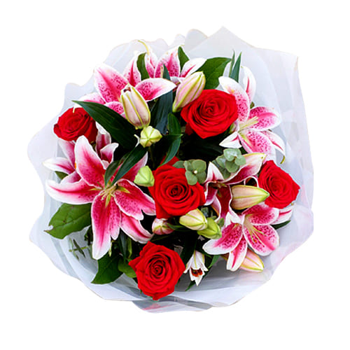 Exclusive Bouquet of Roses and Lilies