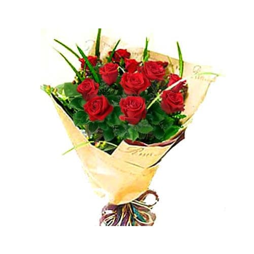Captivating Dozen of China Red Roses Bouquet Designed with Style