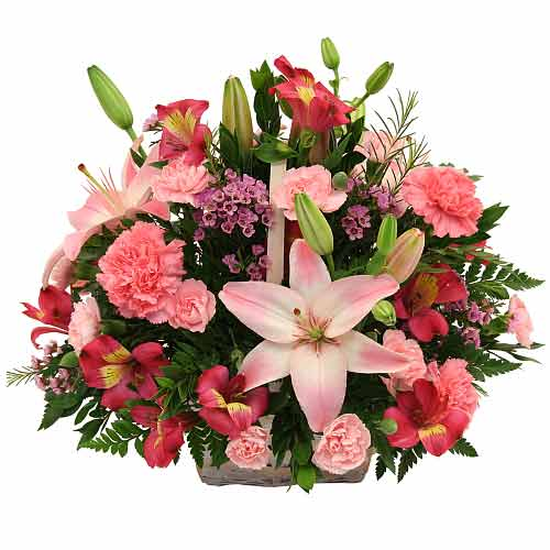 Dazzling Lily with Colorful Carnation Basket