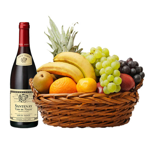 Delectable Red Wine and Seasonal Fruit Basket