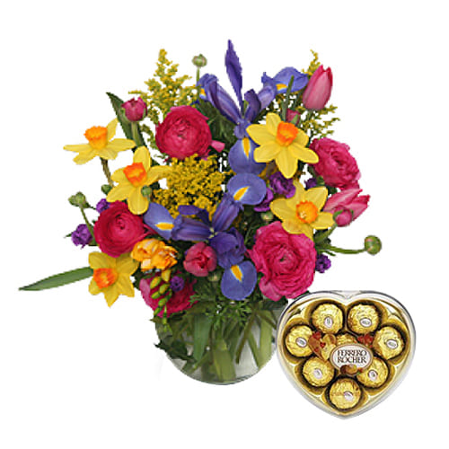 Mixed Flowers Bouquet with Chocolates