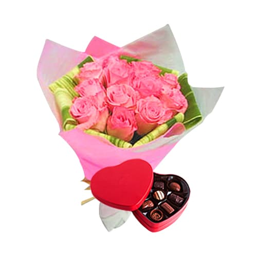 Stunning 12 Pink Roses Bouquet with a Heart shaped Red Metal Box full of Yummy Chocolates