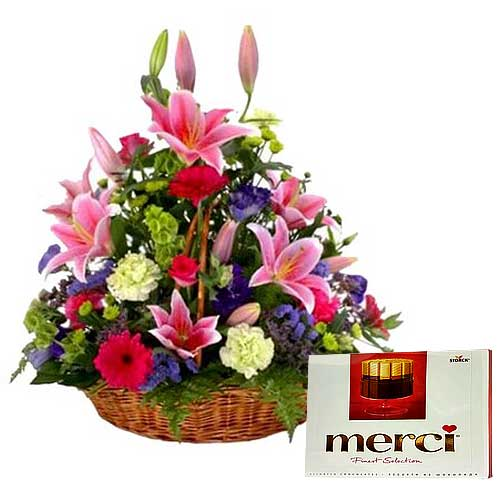 Attention-Getting Mixed Flowers Basket with Chocolates