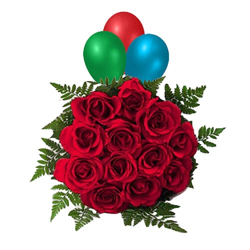 Festive Celebration with 12 Red Roses and Balloons