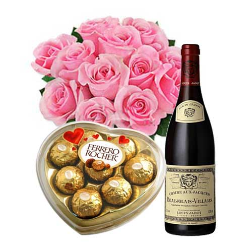 Artistic 12 Pink Roses Bouquet with Ferrero Rocher Chocolate Box and Red Wine