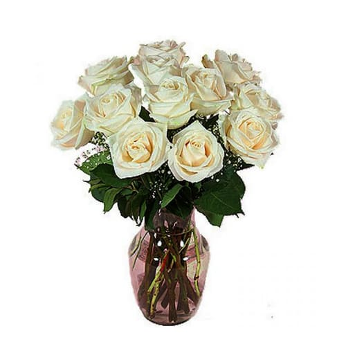 Eye-Catching Perfect Elegance 12 White Roses in a Vase